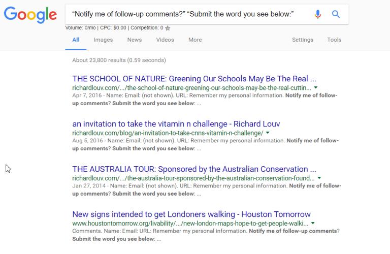 یافتن بک های کامنتی از google dorks