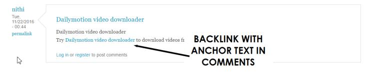 نمونه بک لینک کامنتی با استفاده انکر تکست (َAnchor Text)