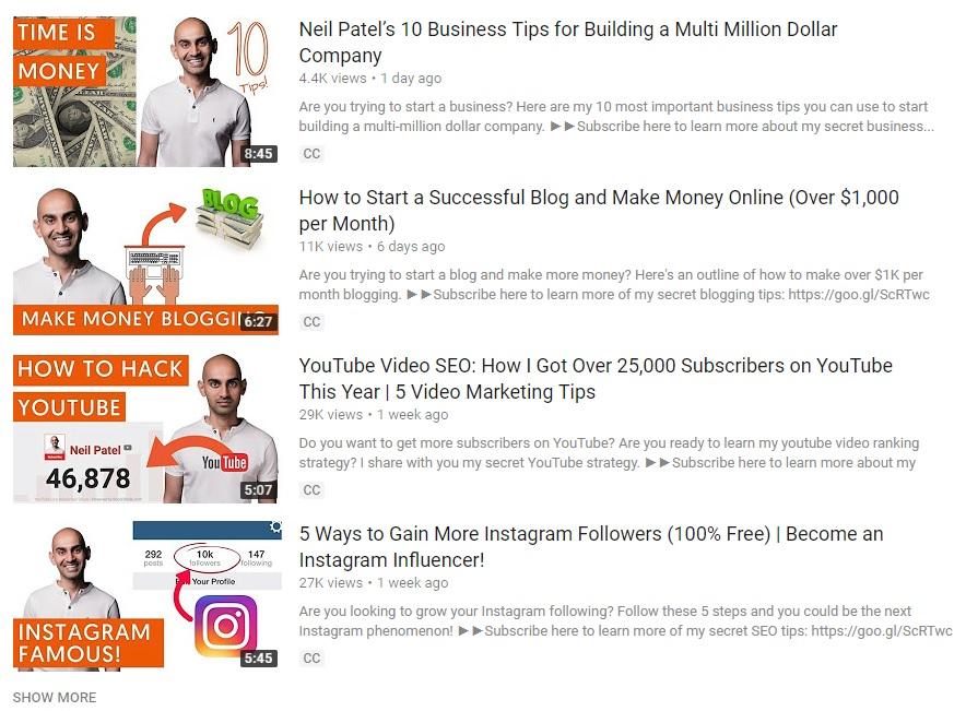 مثال کانال یوتیوب برای بازاریابی اینترنتی