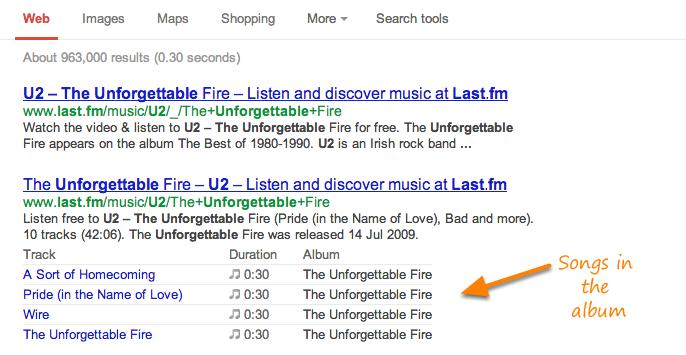 music google rich snippet