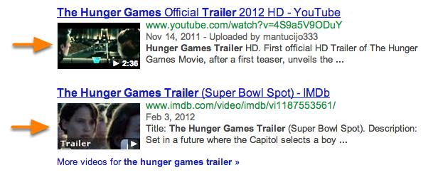 video google rich snippet